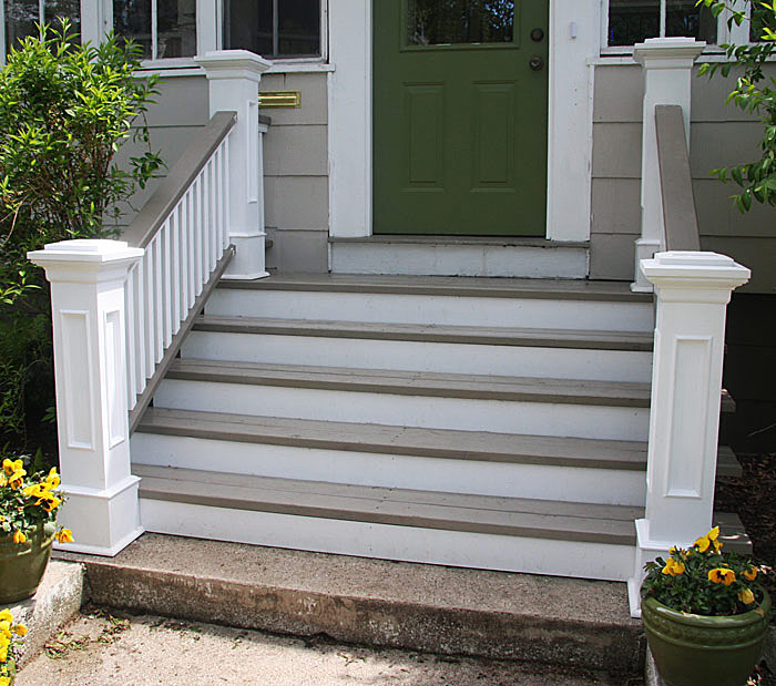 Front steps railings and newel posts 171 edgewater woodwork
